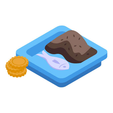 Lunch fish brown rice icon, isometric style