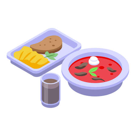 Red borscht lunch icon, isometric style