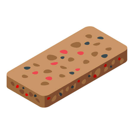 Cereal snack bar icon, isometric style