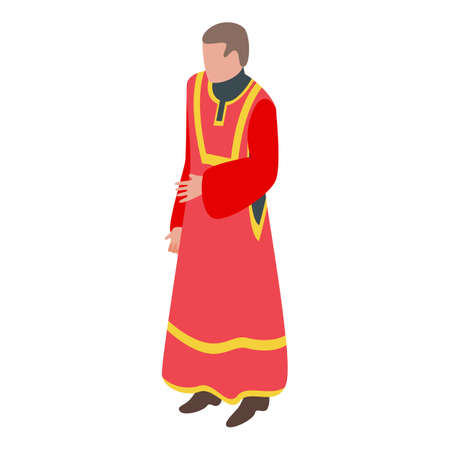 Priest red clothes icon, isometric style