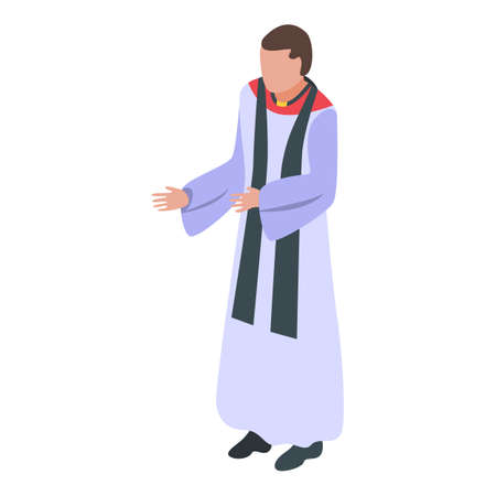 Young priest icon, isometric style Vectores