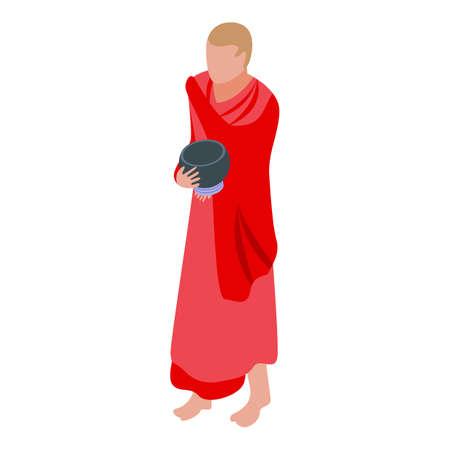 Hindu monk icon, isometric style