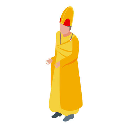 Gold clothes priest icon, isometric style Vectores