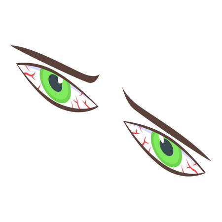 Tired green eyes icon, isometric style