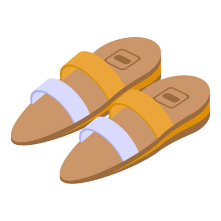Woman sandals icon, isometric style