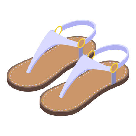 Girl sandals icon, isometric style