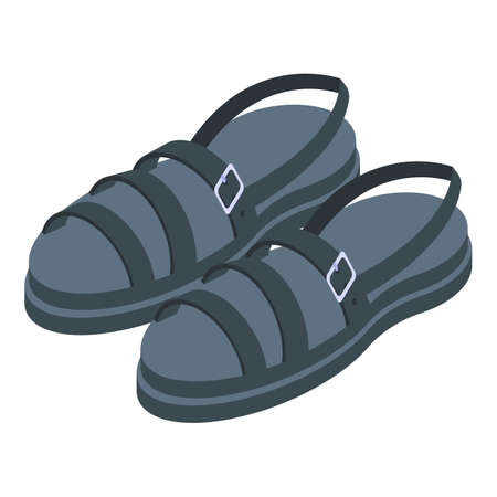 Black color sandals icon, isometric style
