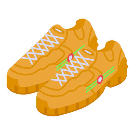 Leather sneakers icon, isometric style