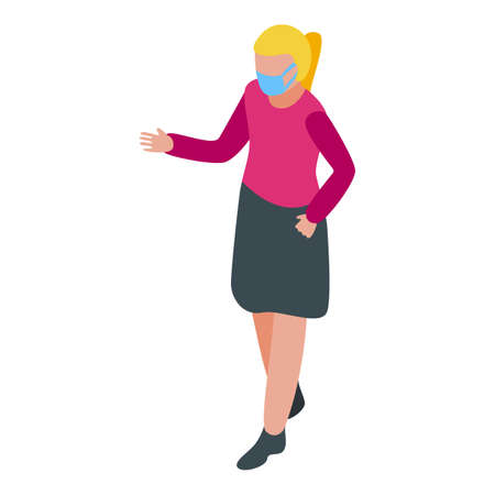 Young teacher in mask icon, isometric style