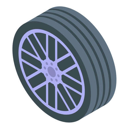 Car sport wheel icon, isometric style