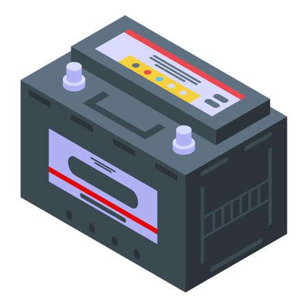 Car battery icon, isometric style Illusztráció