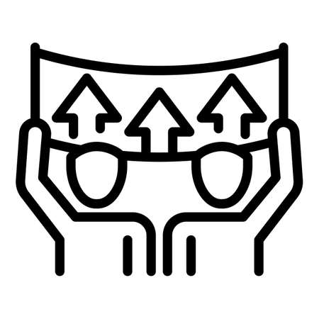 Group banner agitation icon, outline style