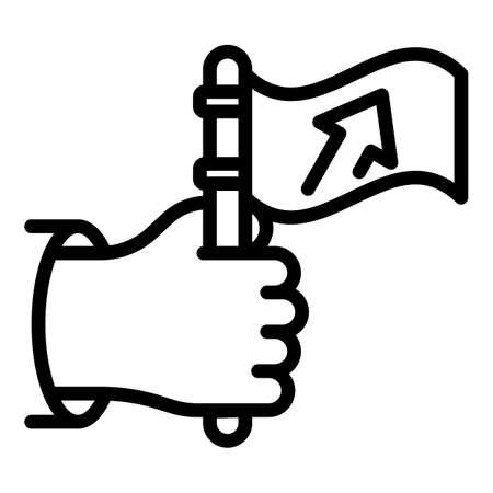 Hand flag agitation icon, outline style Ilustração
