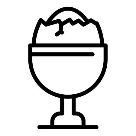 Restaurant boiled egg icon, outline style Çizim