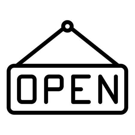 Open restaurant board icon, outline style