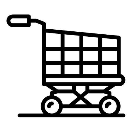 Shopping cart icon, outline style