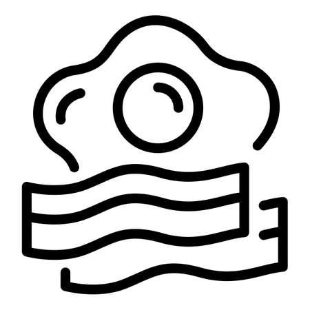 Egg bacon icon, outline style