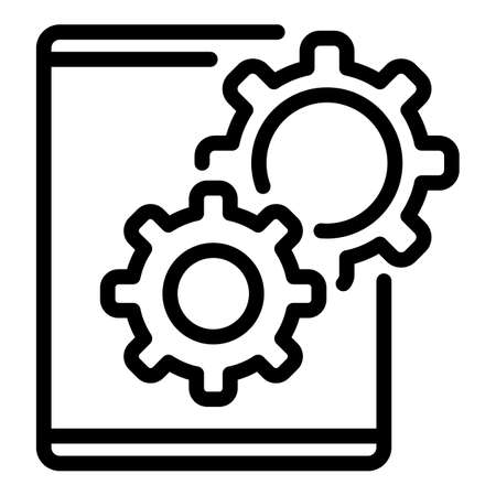 Repair service tablet icon, outline style Illustration