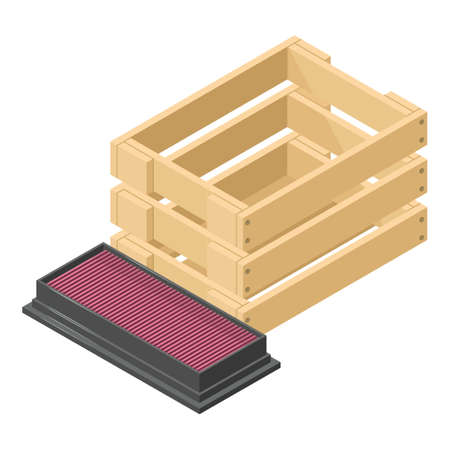 Car filter icon, isometric style
