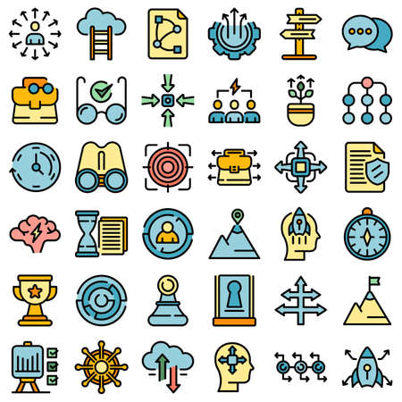 Opportunity icons set vector flat