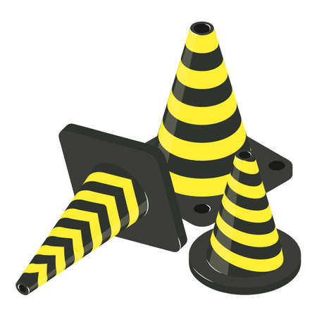 Traffic cone icon. Isometric illustration of traffic cone vector icon for web