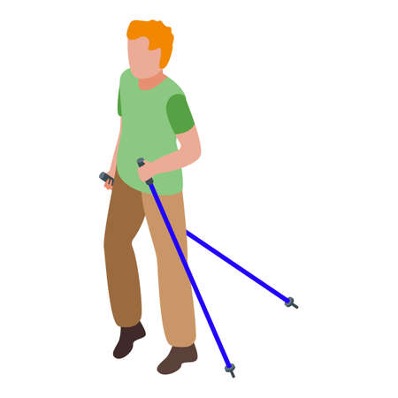 Nordic walking icon. Isometric of nordic walking vector icon for web design isolated on white background