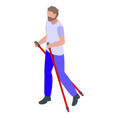 Man nordic walking icon. Isometric of man nordic walking vector icon for web design isolated on white background Illustration