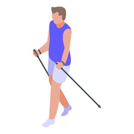 Summer nordic walking icon. Isometric of summer nordic walking vector icon for web design isolated on white background
