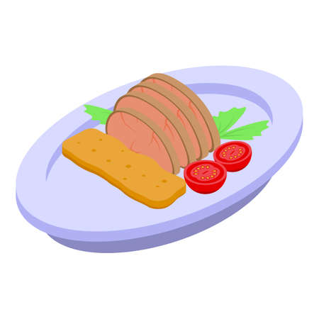 Restaurant meat dish icon. Isometric of restaurant meat dish vector icon for web design isolated on white background Vetores