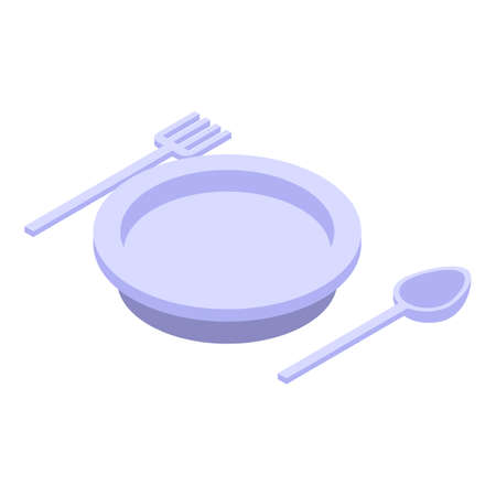 Restaurant dishes icon. Isometric of restaurant dishes vector icon for web design isolated on white background