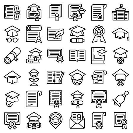 Degree icons set. Outline set of degree vector icons for web design isolated on white background Çizim