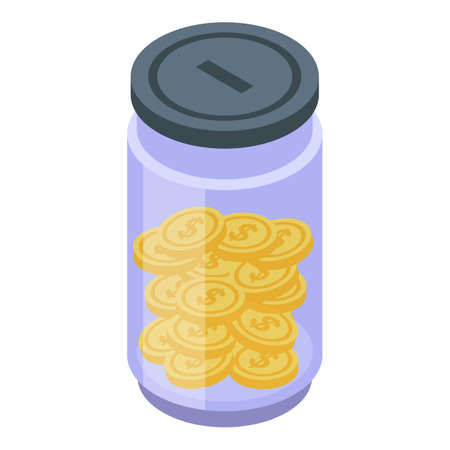 Bank coin jar icon. Isometric of bank coin jar vector icon for web design isolated on white background
