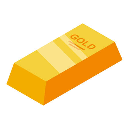 Bank gold bar icon. Isometric of bank gold bar vector icon for web design isolated on white background Иллюстрация
