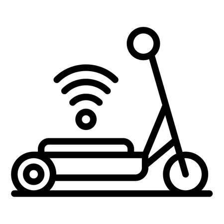 Helmet wifi electric scooter icon. Outline helmet wifi electric scooter vector icon for web design isolated on white background