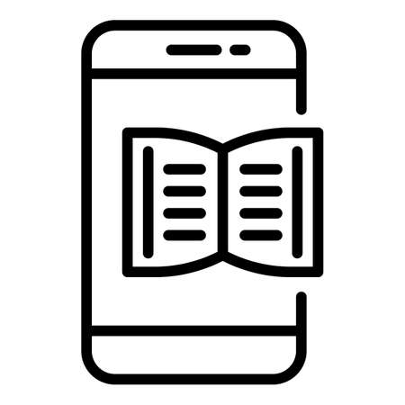 Smartphone book learning icon. Outline smartphone book learning vector icon for web design isolated on white background