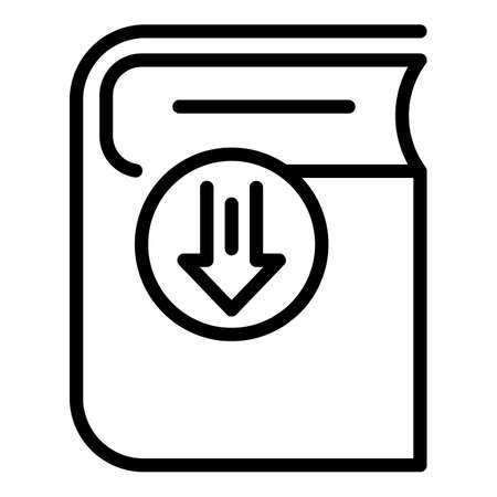 Buy download ebook icon, outline style Ilustracja