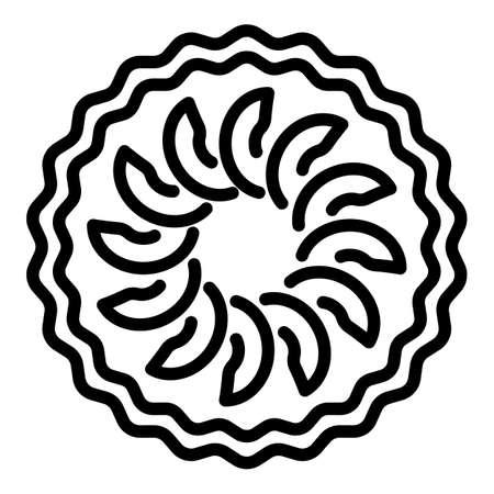Slice apple pie icon, outline style Vettoriali