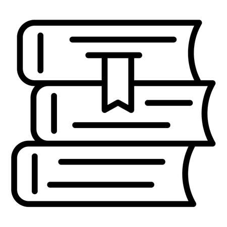 Mentor book stack icon, outline style
