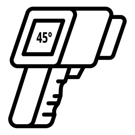 Gun thermometer icon. Outline gun thermometer vector icon for web design isolated on white background