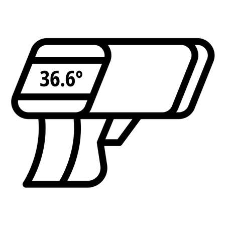 Gun scan thermometer icon. Outline gun scan thermometer vector icon for web design isolated on white background Stock Illustratie