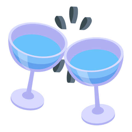 Water glass cheers icon, isometric style