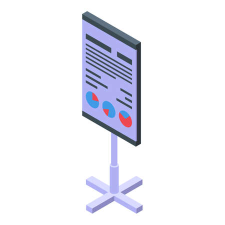 Report chart banner icon, isometric style
