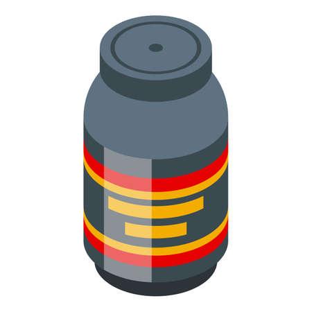 Bodybuilding protein jar icon, isometric style Иллюстрация