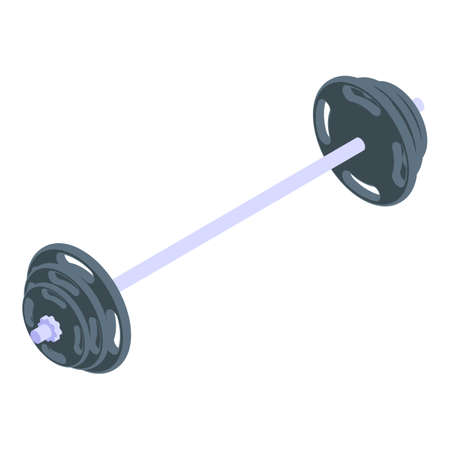 Bodybuilding barbell icon, isometric style