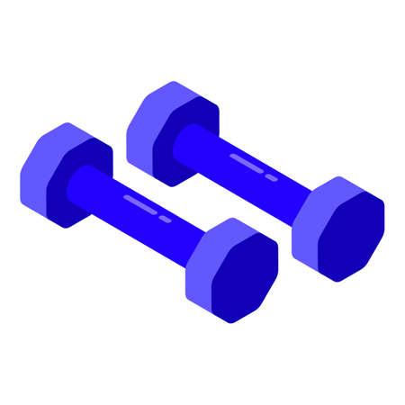 Bodybuilding dumbbells icon, isometric style