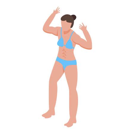 Girl bodybuilding icon, isometric style