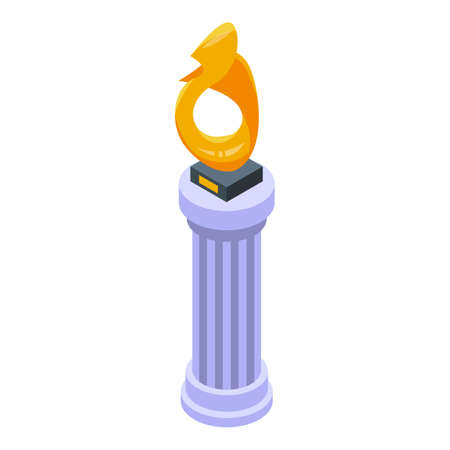 Auction gold cup icon, isometric style