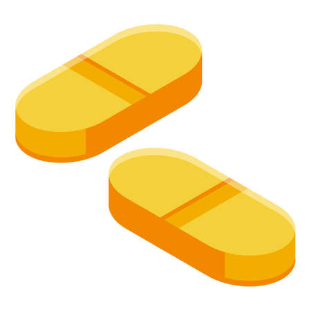 Sport nutrition pills icon, isometric style