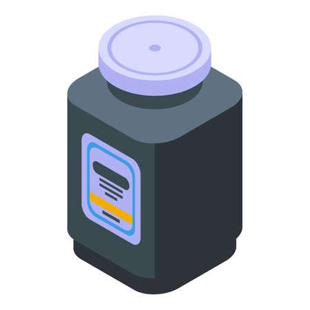 Sport nutrition plastic jar icon, isometric style Иллюстрация