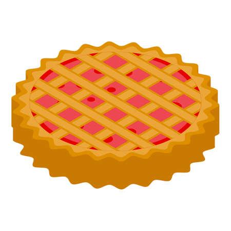 Apple pie dessert icon, isometric style